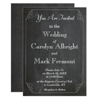 黒板によってチョークで書かれるタイポグラフィのヴィンテージの結婚 12.7 X 17.8 インビテーションカード