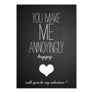 黒板のかわいいハートのおもしろいなバレンタインデー カード