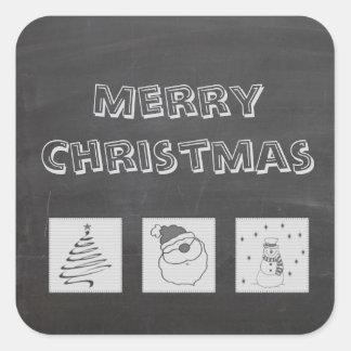 黒板のかわいくおもしろいなクリスマスのパッチワークの休日 正方形シール