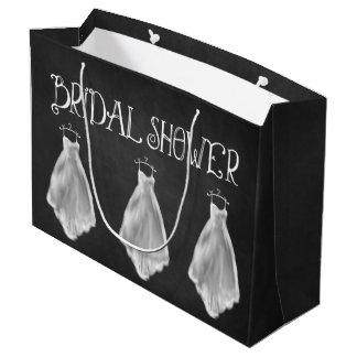 黒板のウェディングドレスのブライダルシャワーのギフトバッグ ラージペーパーバッグ