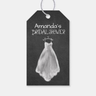 黒板のウェディングドレスのブライダルシャワーのメッセージカード ギフトタグ