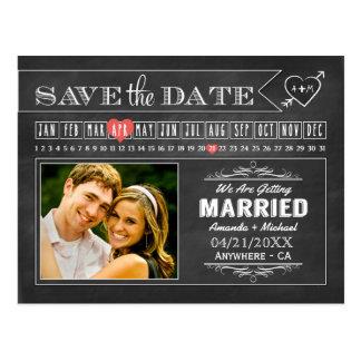 黒板のカレンダーの写真の保存日付カード ポストカード