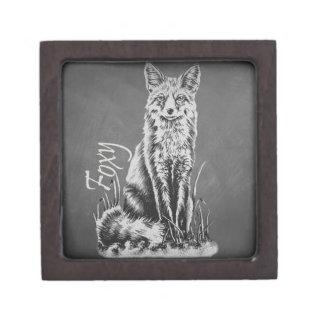 黒板のキツネの動物の芸術のチョークのスケッチ ギフトボックス