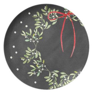 黒板のクリスマスのプレートのリースのメラミン プレート