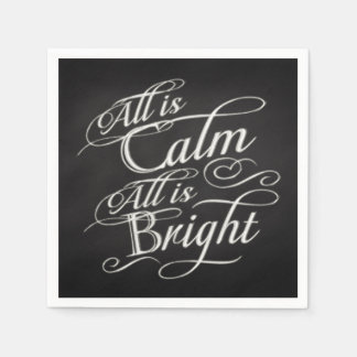 黒板のクリスマスはすべてすべてが明るい平静です スタンダードカクテルナプキン
