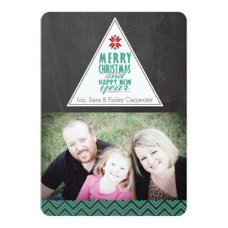 黒板のシェブロンのメリークリスマスの写真カード カード