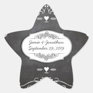 黒板のタイポグラフィの結婚式 星シール