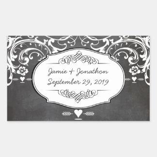 黒板のタイポグラフィの結婚式 長方形シール