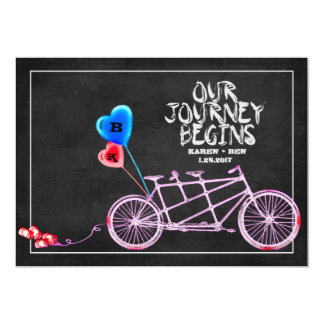 黒板のタンデム自転車の結婚式 12.7 X 17.8 インビテーションカード