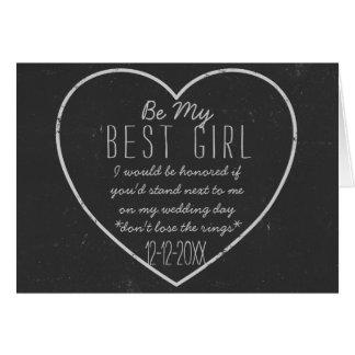 黒板のハートは私の最も最高のな女の子の要求カードです カード