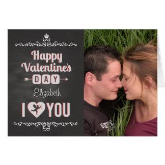 黒板のバレンタインのカスタムな写真または名前Iのハート カード