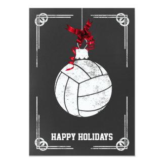 黒板のバレーボール選手のクリスマスカード カード