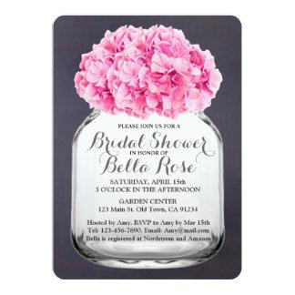 黒板のピンクのアジサイのブライダルシャワーhydrangea5 カード