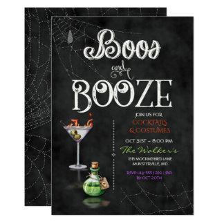黒板のブーイング及び酒宴のハロウィンのカクテルパーティー カード