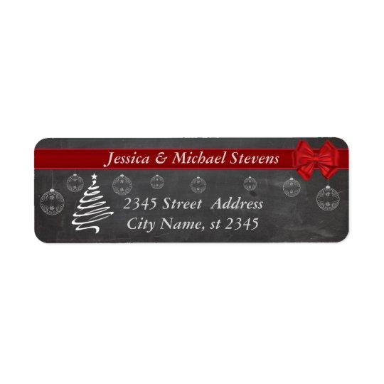 黒板のモダンで粋な休日のクリスマス 返信用宛名ラベル