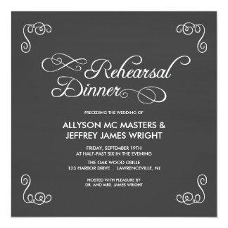 黒板のリハーサルの夕食の招待状 カード