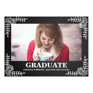 黒板のヴィンテージの花のボーダー|大学院の写真 カード