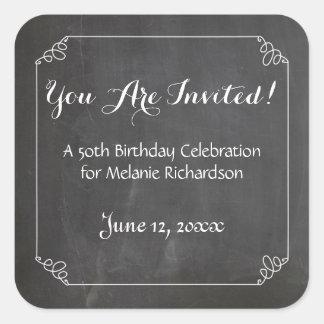 黒板のヴィンテージの華麗さフレームの第50誕生日 スクエアシール