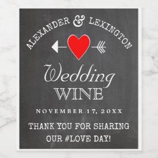 黒板の一見の素朴な国の結婚式 ワインラベル