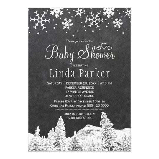 黒板の不思議の国の素朴な冬のベビーシャワー カード