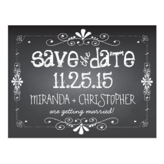 黒板の保存日付の結婚式の郵便はがき はがき