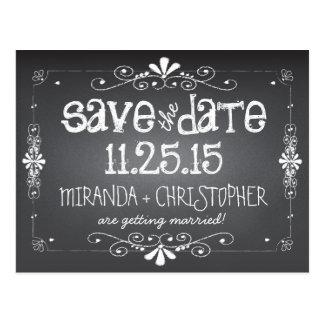 黒板の保存日付の結婚式の郵便はがき ポストカード