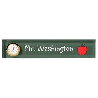 黒板の先生の時計の机用ネームプレートのギフト デスクネームプレート