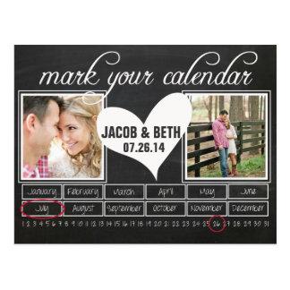 黒板の写真の保存日付のカレンダーの郵便はがき ポストカード