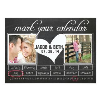 黒板の写真の保存日付のカレンダー カード