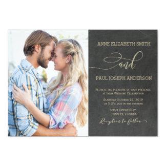 黒板の写真の結婚式招待状 カード