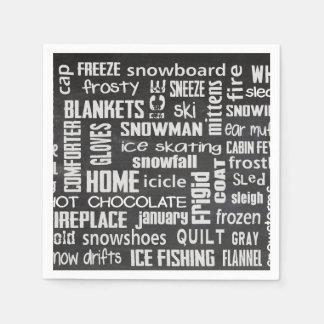 黒板の冬の単語の雲 スタンダードカクテルナプキン