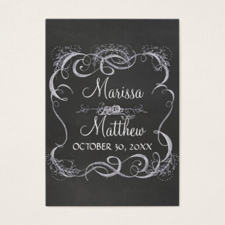 黒板の印刷の葉の渦巻の素朴な結婚式 名刺