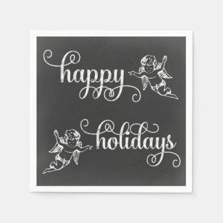 黒板の天使の幸せな休日の渦巻形のな原稿 スタンダードカクテルナプキン