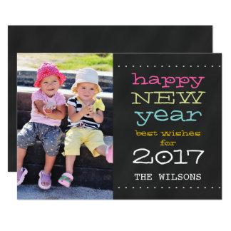 黒板の明けましておめでとう2017休日の写真カード カード