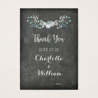 黒板の春の花の結婚式の引き出物のラベル チャビ―名刺