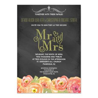 黒板の水彩画の花柄の結婚式招待状 カード