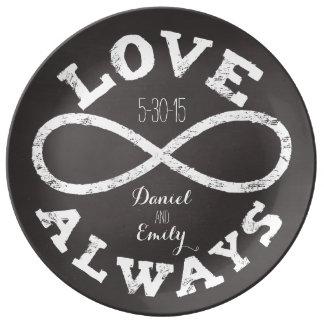 黒板の無限愛結婚式の日付および名前 磁器プレート
