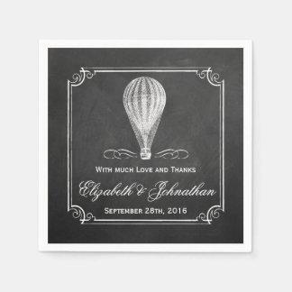 黒板の熱気の気球の結婚式のコレクション スタンダードカクテルナプキン