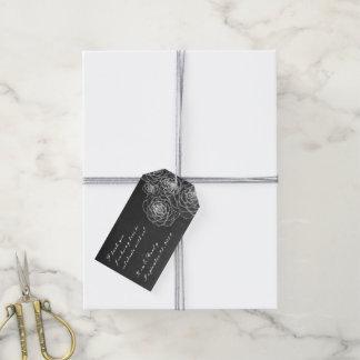 黒板の白黒のSucculentsのギフトのメッセージカード ギフトタグ