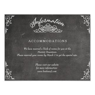 黒板の白黒書道情報カード カード