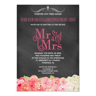 黒板の秋の花の水彩画の結婚式の招待 カード