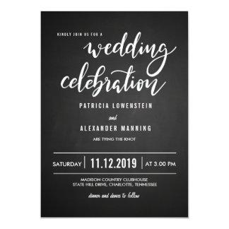 黒板の素朴な結婚式のお祝いのタイポグラフィ カード