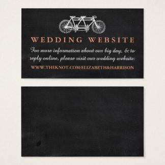 黒板の結婚式のウェブサイトのタンデム自転車 名刺