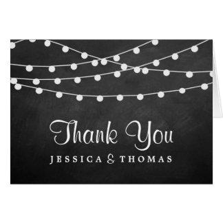 黒板の結婚式のコレクションのひもライト ノートカード