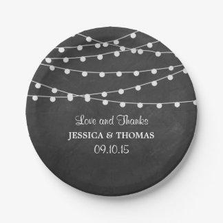 黒板の結婚式のコレクションのひもライト ペーパープレート