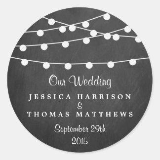 黒板の結婚式のコレクションのひもライト ラウンドシール
