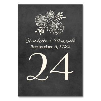 黒板の結婚式のテーブル数カードTablecard