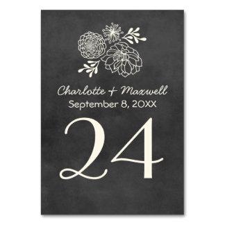黒板の結婚式のテーブル数カードTablecard カード