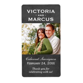 黒板の結婚式の写真のワイン・ボトルの好意のラベル 発送ラベル
