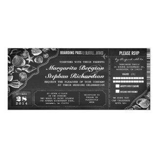 黒板の結婚式の搭乗券のチケット カード